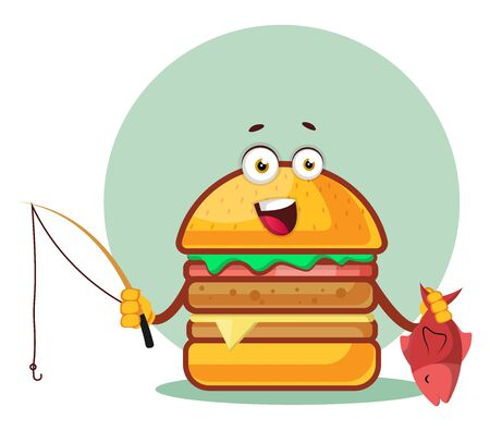 Burger with fishing rod and a fish, illustration, vector on white background. Illustration