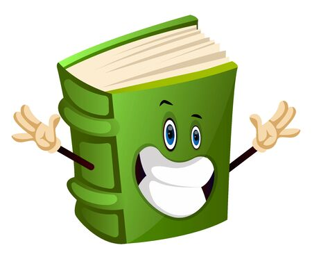 Cartoon book character is feeling happy, illustration, vector on white background. Çizim