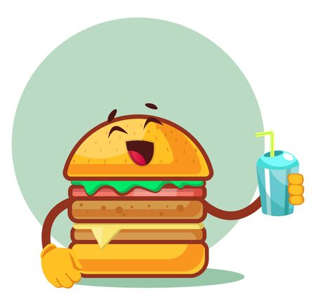 Burger is holding cup with straw, illustration, vector on white background. Archivio Fotografico - 132797308