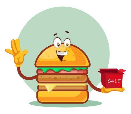 Burger is holding a sale box, illustration, vector on white background. Illustration