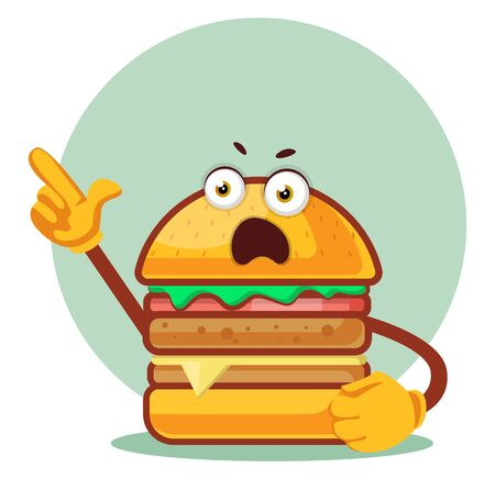 Burger yelling, illustration, vector on white background. Archivio Fotografico - 132869609