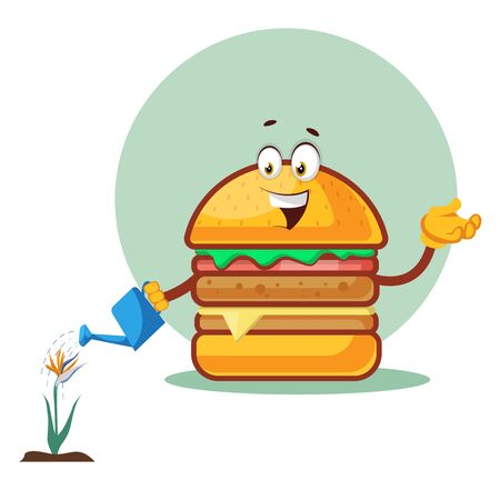 Burger is watering the flower, illustration, vector on white background. Ilustração