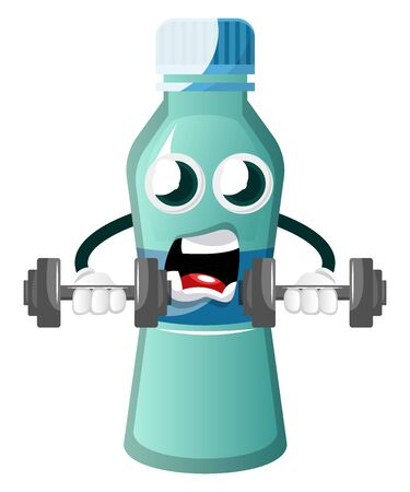 Bottle is holding training weights, illustration, vector on white background.
