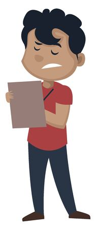 Boy is taking notes, illustration, vector on white background.