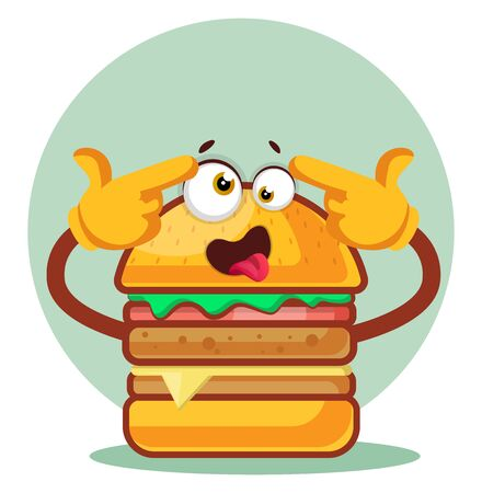 Burger is feeling crazy, illustration, vector on white background.