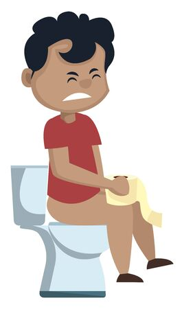 Boy is sitting on a toilet seat, illustration, vector on white background. Foto de archivo - 132799888