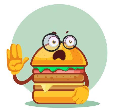 Burger with glasses, illustration, vector on white background. Archivio Fotografico - 132799887