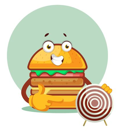 Burger is holding a target board, illustration, vector on white background. Archivio Fotografico - 132799893