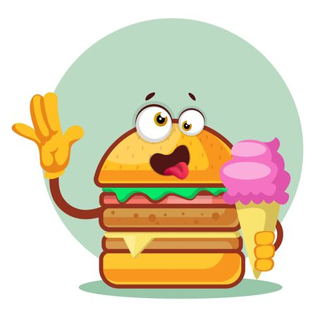 Burger is holding an ice cream cone, illustration, vector on white background.