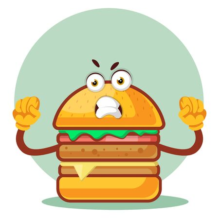 Angry burger, illustration, vector on white background. Archivio Fotografico - 132869872
