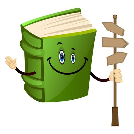 Cartoon book character with road direction signs, illustration, vector on white background.