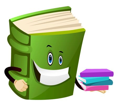 Cartoon book character is holding books, illustration, vector on white background.