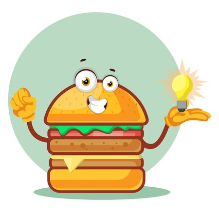 Burger is holding a light bulb, illustration, vector on white background. Archivio Fotografico - 132869889
