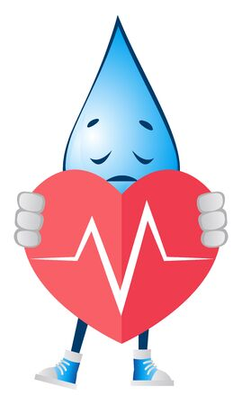 Water drop with broken heart, illustration, vector on white background.