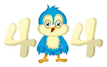 Blue bird error 404, illustration, vector on white background.