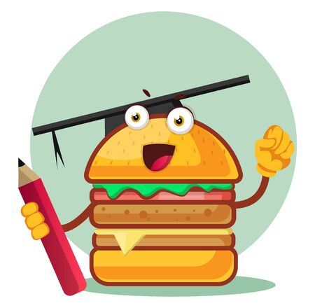 Burger with a graduation cap holds a pencil, illustration, vector on white background. Archivio Fotografico - 132797342