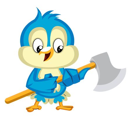 Blue bird is holding an axe, illustration, vector on white background. Ilustrace