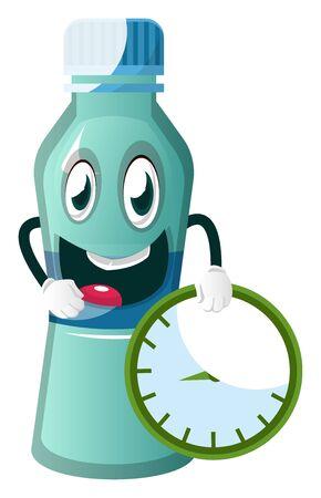 Bottle is holding clock, illustration, vector on white background.