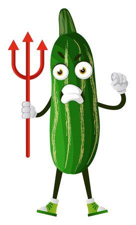 Cucumber with devil fork, illustration, vector on white background.
