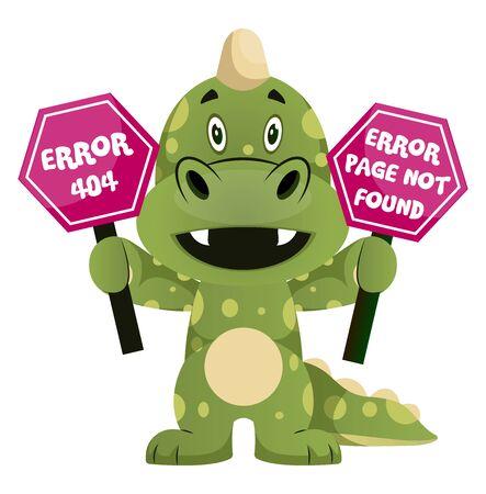 Green dragon is holding error sign, illustration, vector on white background. Ilustração