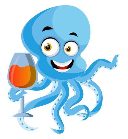 Octopus with drink, illustration, vector on white background.