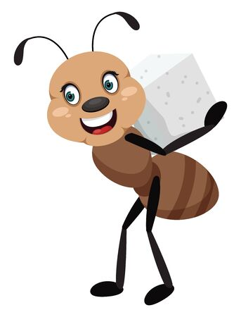 Ant with sugar, illustration, vector on white background.