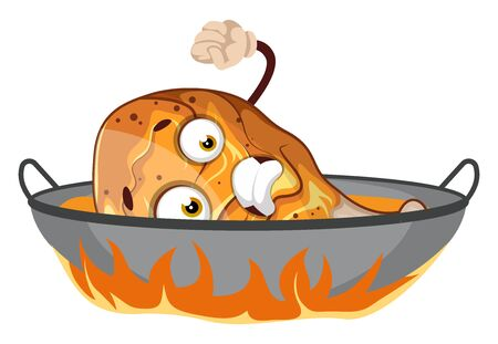 Afraid chicken drumstick in the frying pan, illustration, vector on white background.