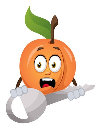 Apricot with big key, illustration, vector on white background. Ilustração