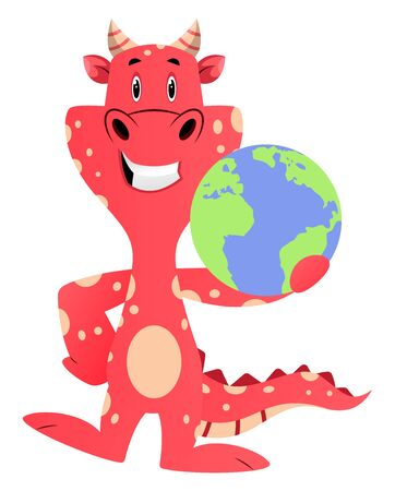 Red dragon is holding planet, illustration, vector on white background.