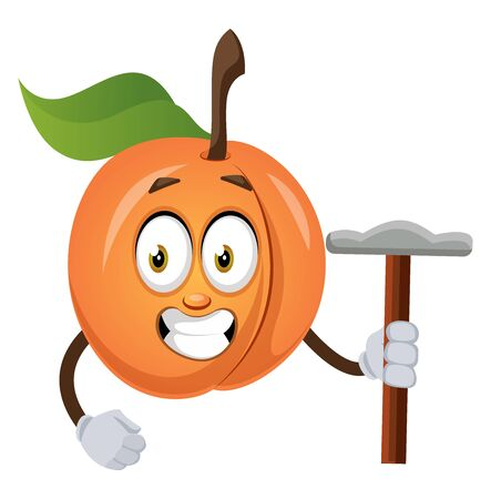 Apricot with hammer, illustration, vector on white background.