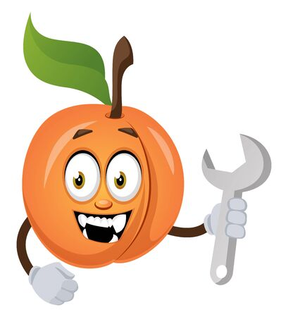 Apricot with wrench, illustration, vector on white background.
