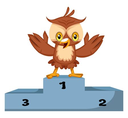 Owl is winner, illustration, vector on white background.