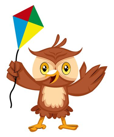 Owl with flying kite, illustration, vector on white background.