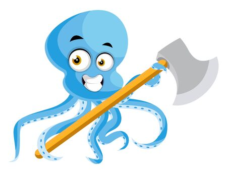 Octopus with big axe, illustration, vector on white background.