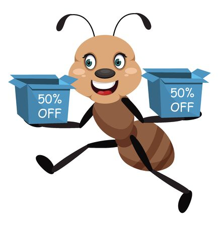 Ant with boxes, illustration, vector on white background.