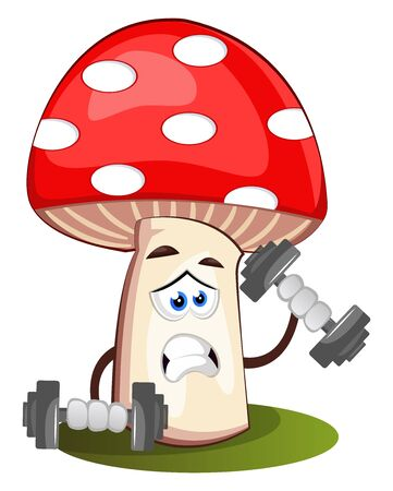 Mushroom lifting weights, illustration, vector on white background.