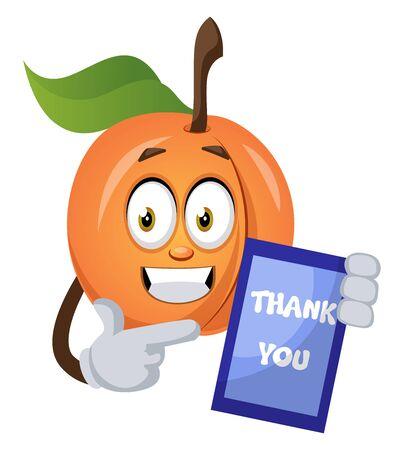 Apricot with thank you sign, illustration, vector on white background. Ilustração