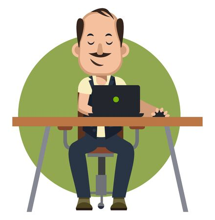 Man playing video games, illustration, vector on white background. 일러스트