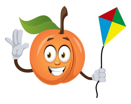 Apricot with flying kite, illustration, vector on white background.