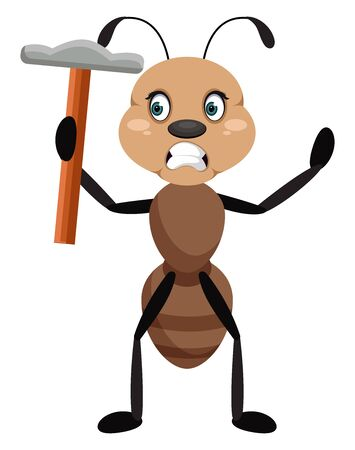 Ant with hammer, illustration, vector on white background.