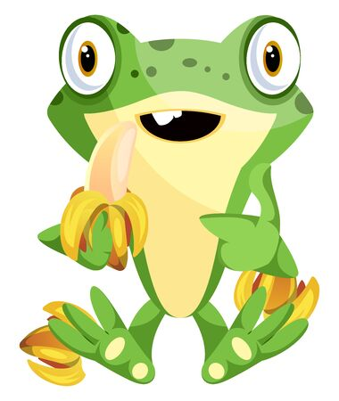 Cute cartoon frog eating bananas, illustration, vector on white background.
