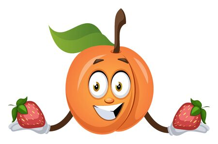 Apricot holding strawberry, illustration, vector on white background.