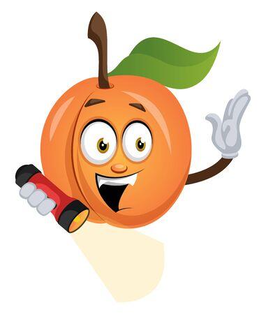 Apricot with flashlight, illustration, vector on white background. Ilustração