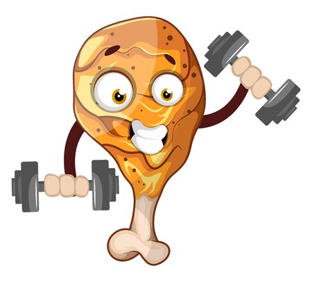 Strong chicken drumstick weightlifting, illustration, vector on white background.