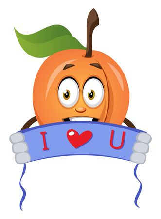 Apricot holding i love you sign, illustration, vector on white background.