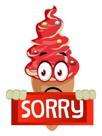 Ice cream with sorry sign, illustration, vector on white background.