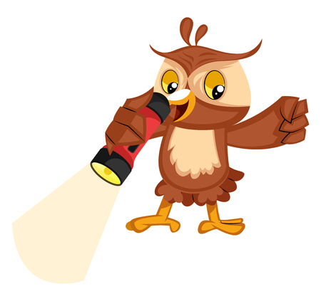 Owl with flashlight, illustration, vector on white background.