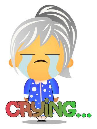 Grandma crying, illustration, vector on white background.