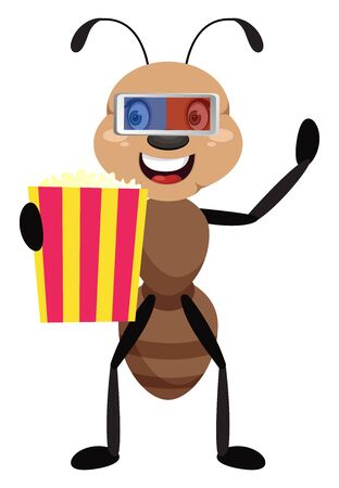 Ant with popcorn, illustration, vector on white background.