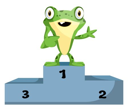 Cute cartoon frog on a champion stand, illustration, vector on white background. Illustration